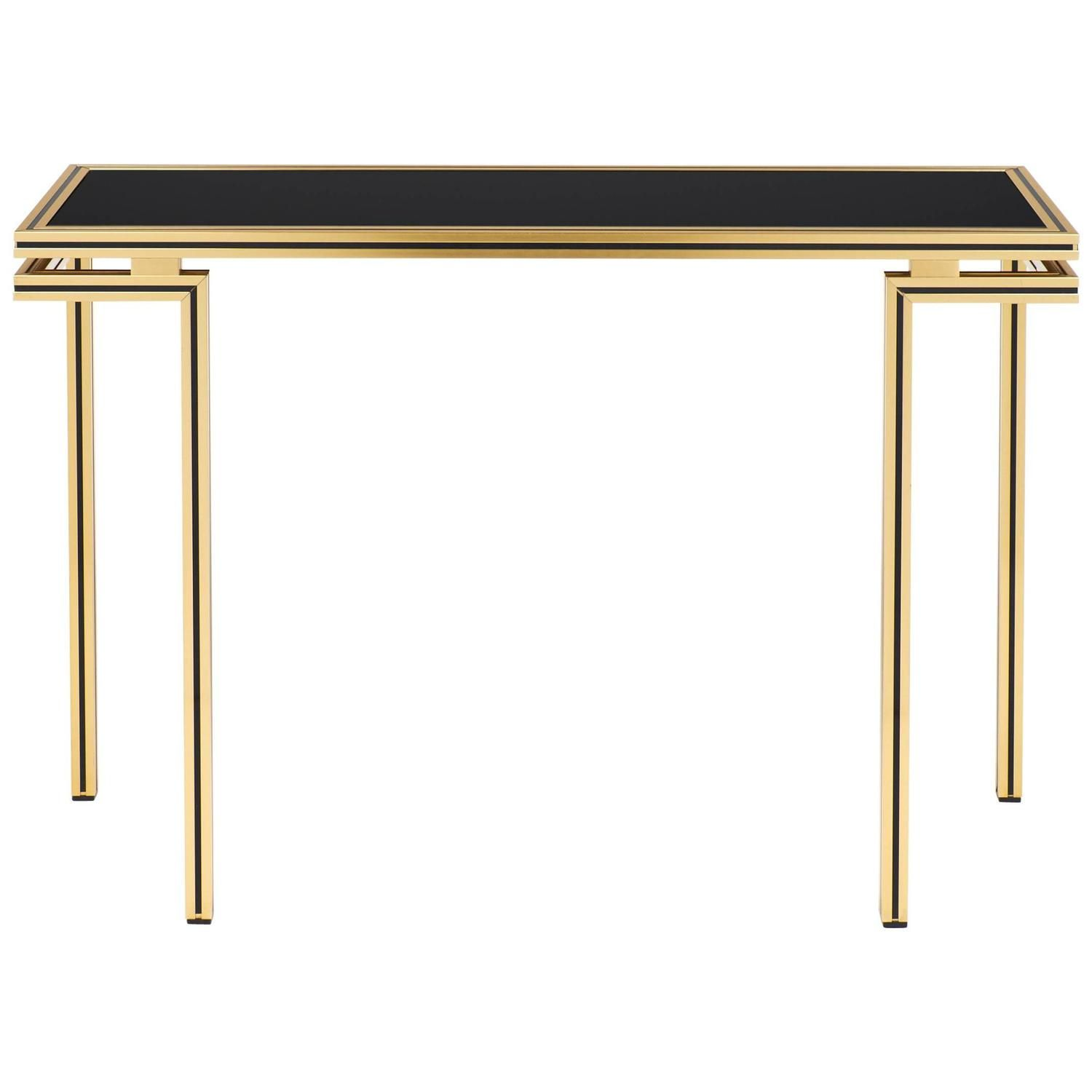 Vintage Black Glass Top Brass Console Table By Pierre Vandel 1