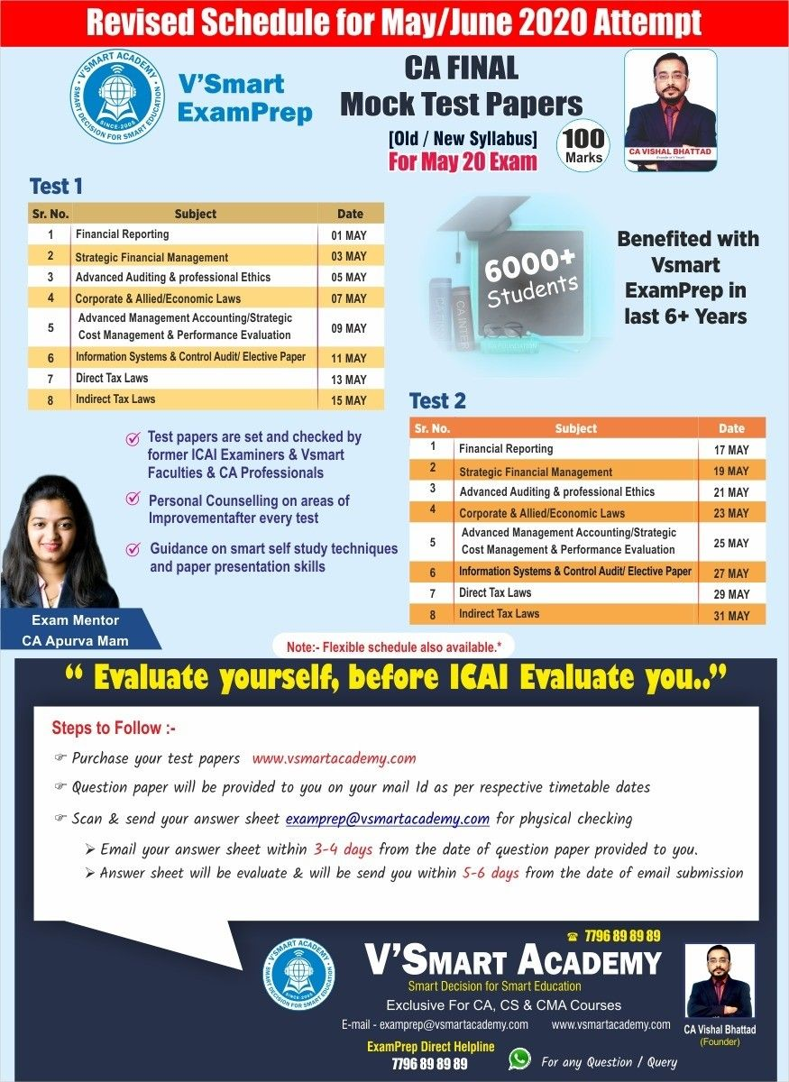 Revised schedule of Mock test by Vsmart ExamPrep for CA