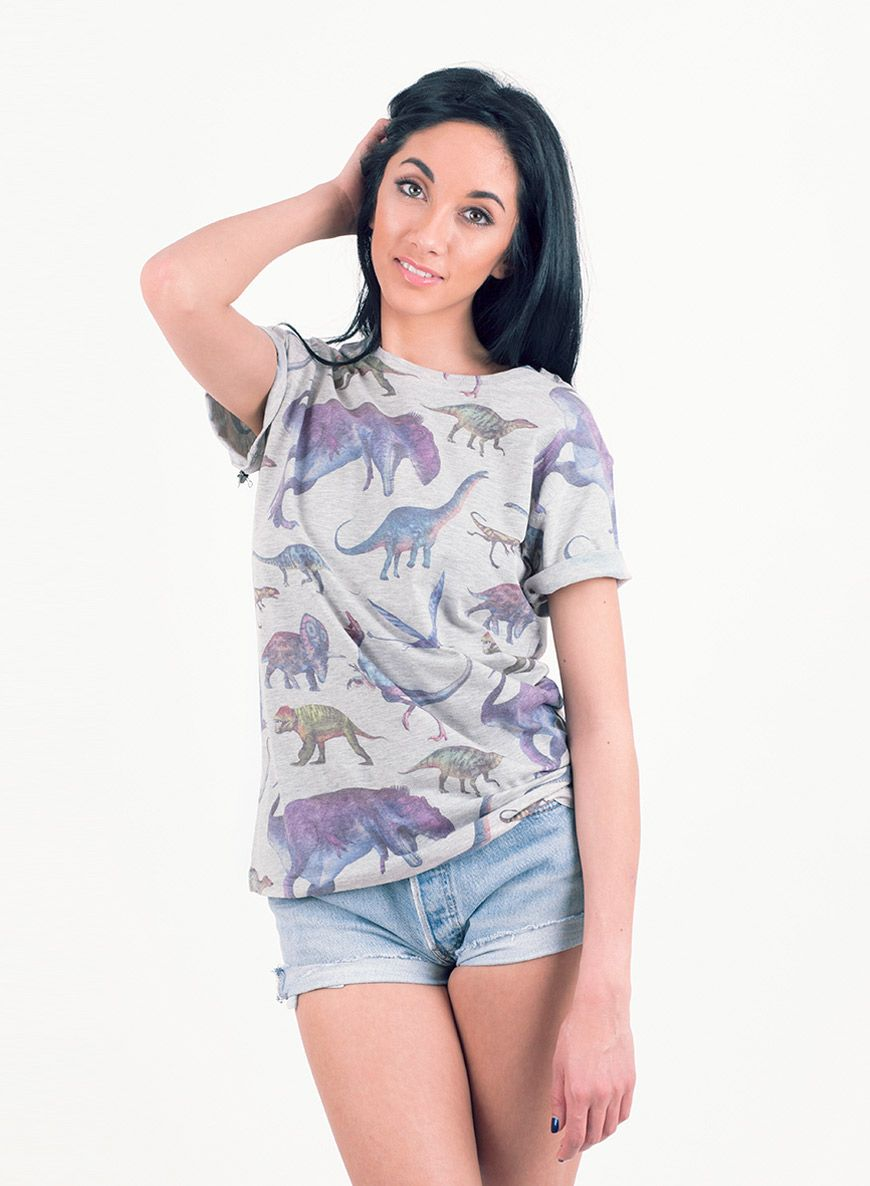 c84f40c9bce Shop Women s All Over Print Dinosaur T-Shirt. Buy retro   indie fashion at  Phix Clothing.