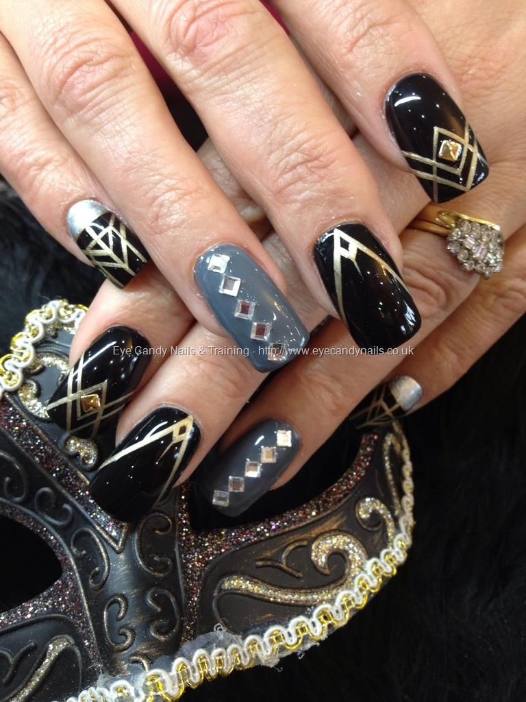 The Great Gatsby inspired nail art with Swarovski crystals and gold ...
