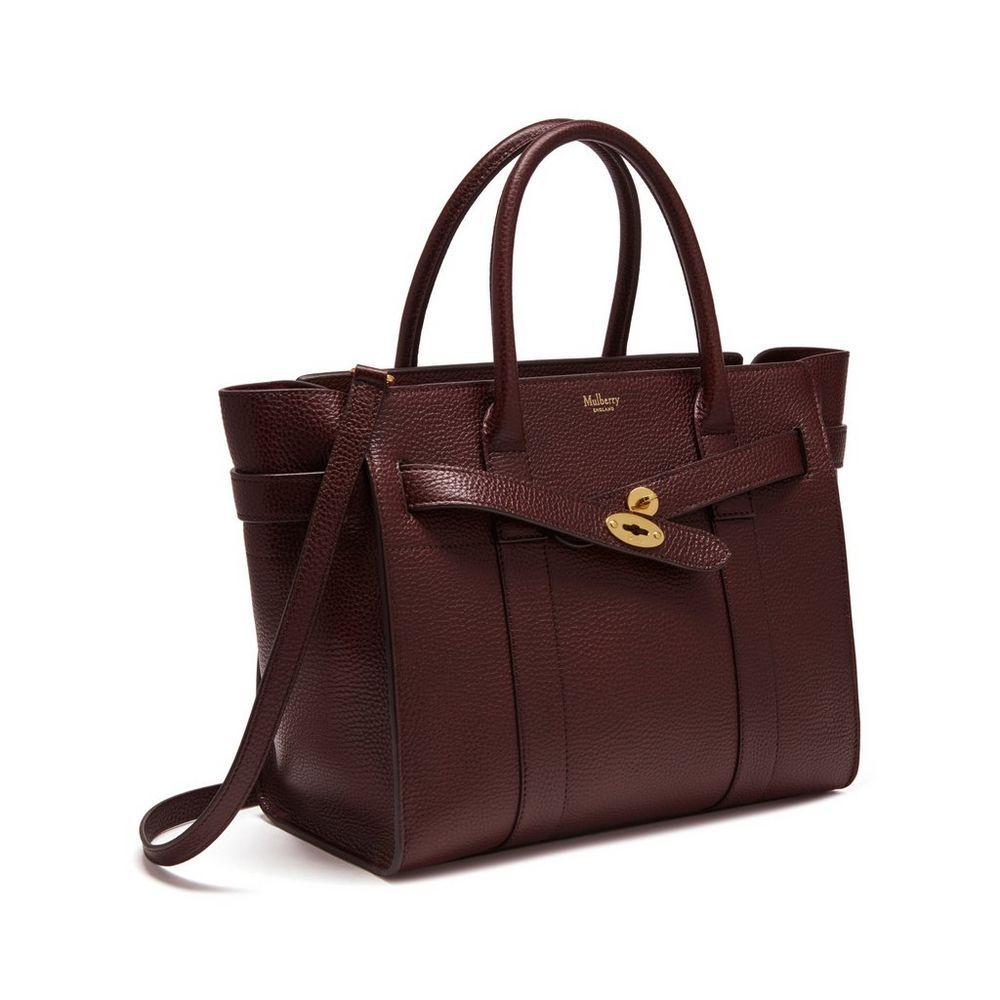 f1a1755f1399 Mulberry - Small Zipped Bayswater in Oxblood Natural Grain Leather