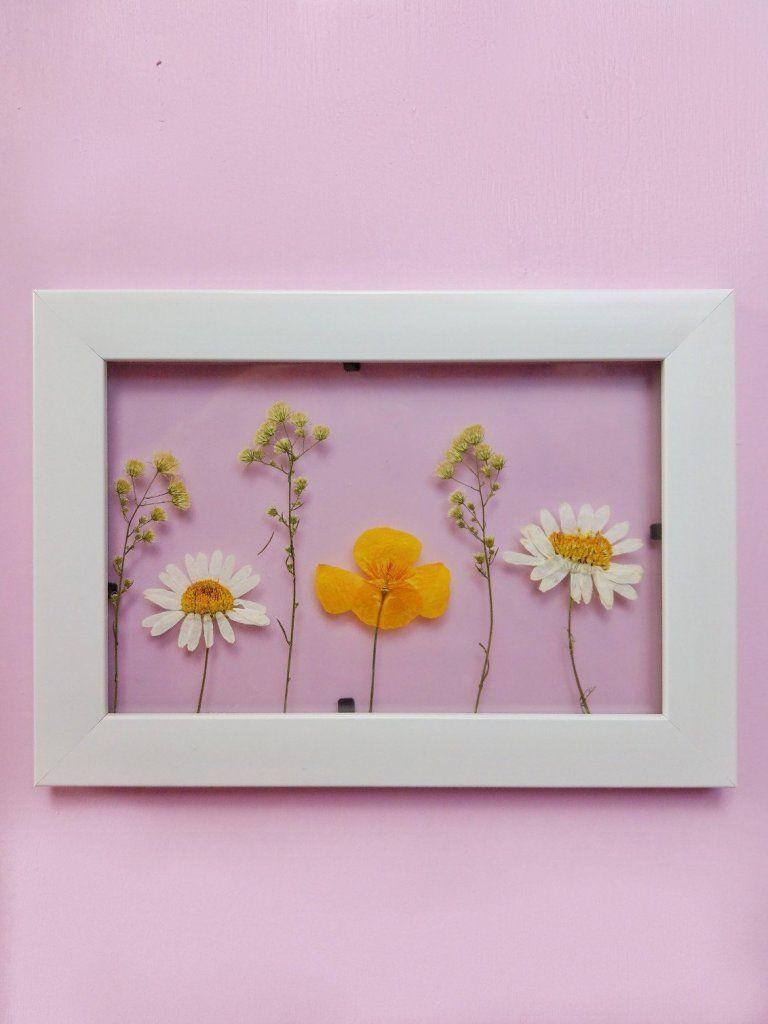 Drei tolle Ideen mit getrockneten Blumen - Deko im Bilderrahmen basteln - kleinliebchen