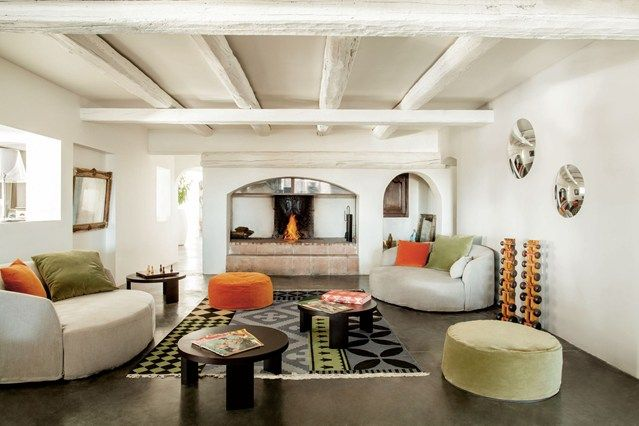 The interiors at the Mas de Ia Fouque are a blend of rustic and modern, as exemplified in the comfortable salon