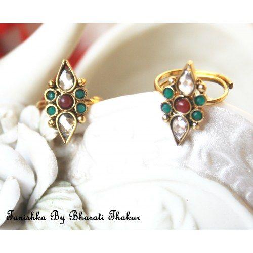 Exquisite Adjustable polki toe ring with semi precious stones