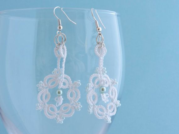 White Lace Earrings with Opaque Teal Beads and by PeekoCrafts