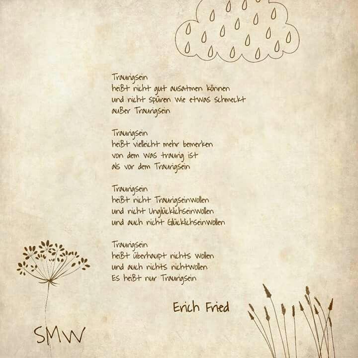 Traurigsein Erich Fried Nèmet versek Pinterest Poem - sprüche von erich kästner