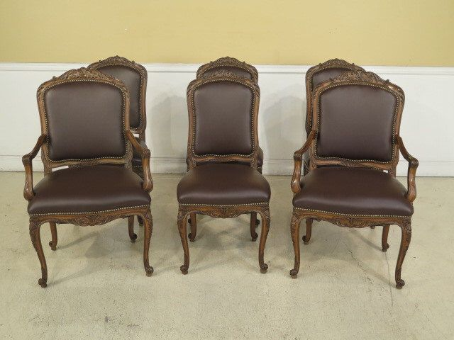 28052E: Set Of 6 French Louis XIV Style Leather Dining Room Chairs By  StenellaAntiques On