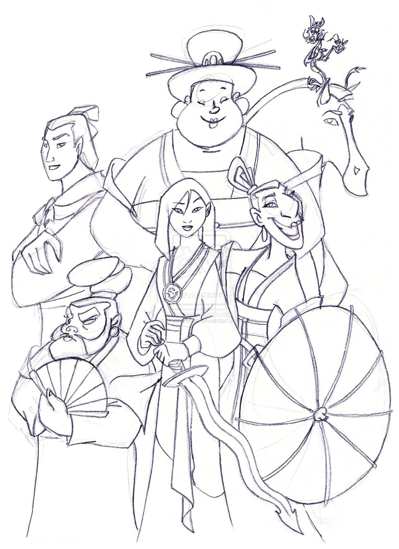 Mulan fan art Coloring Pages | Mulan's team by Ohanamaila ...