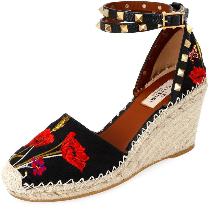 93226cf364c Rockstud Poppy Embroidered Wedge Espadrilles in 2019 | Products ...