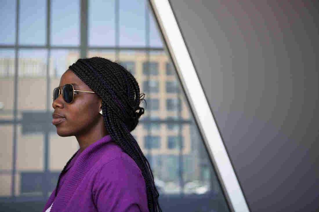 Sa'a, a pseudonym she uses for her safety, poses for a photo after an interview with NPR. She was one of more than 250 girls kidnapped in Nigeria by Boko Haram in 2014. Sa'a, 20, escaped by jumping off a moving truck. She began studying at a college in the U.S. in January.