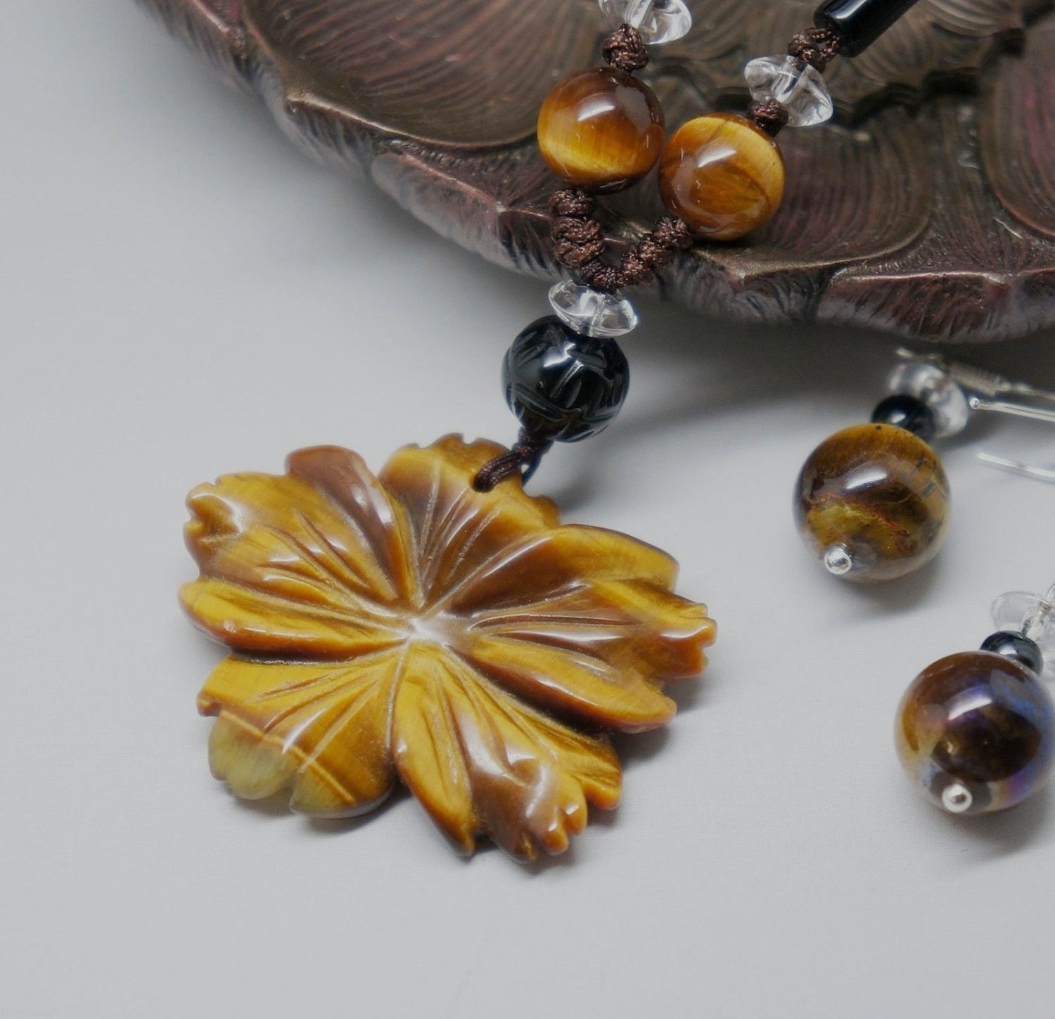 Tiger's Eye Necklace, Golden Tiger's Eye Jewelry Set. Tiger's Eye Flower Pendant. Sakral Chakra Healing, Yoga Necklace, Bridesmaid Necklace