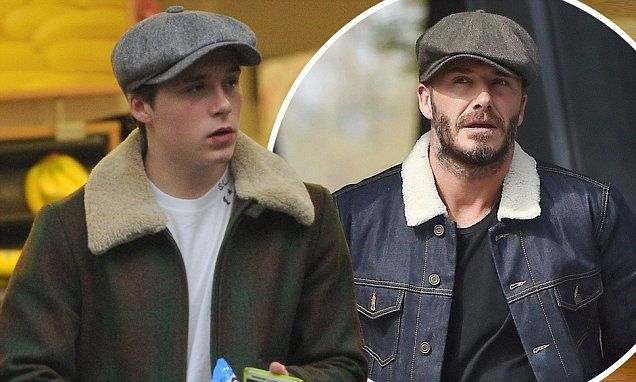 0f17215a061ad Brooklyn Beckham steals David s style as he steps out in baker boy ...