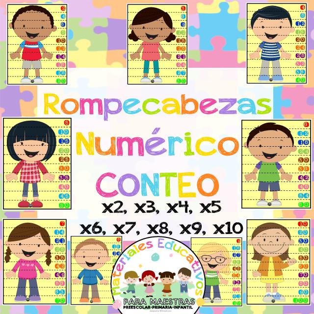 Rompecabezas Numéricos Para Trabajar El Conteo Y Las Tablas De Multiplicar Fichas Material Educativo Rompecabezas
