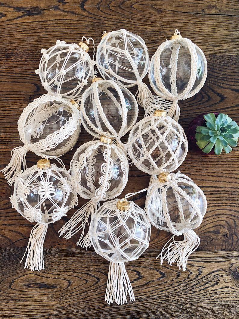 Zestaw 3 choinki Macrame Boho Clear Glass Ornaments Piłka | Etsy