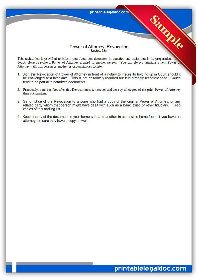 Free Printable Power Of Attorney Revocation Legal Forms Legal
