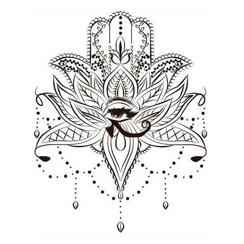 Lotus Hamsa Tattooart Hamsa Hand Lotus Flower Beads