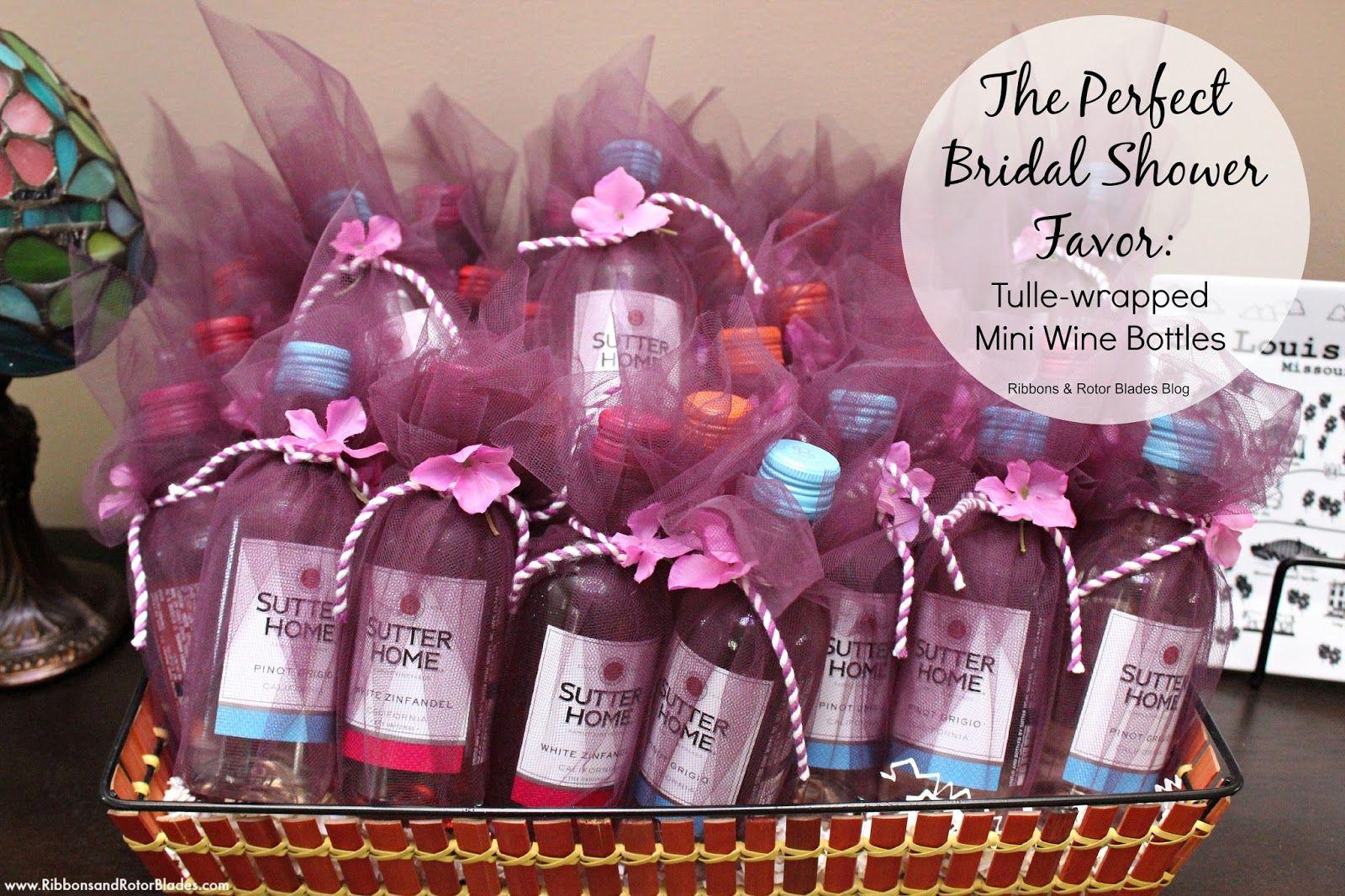 wedding shower decorations Bridal Shower Decor Favor of mini wine bottles