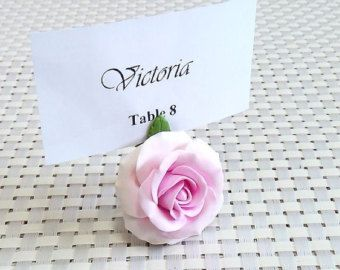 Place Card Holders Roses / Table of / Table Decor / Wedding / - handmade from polymer clay set 20