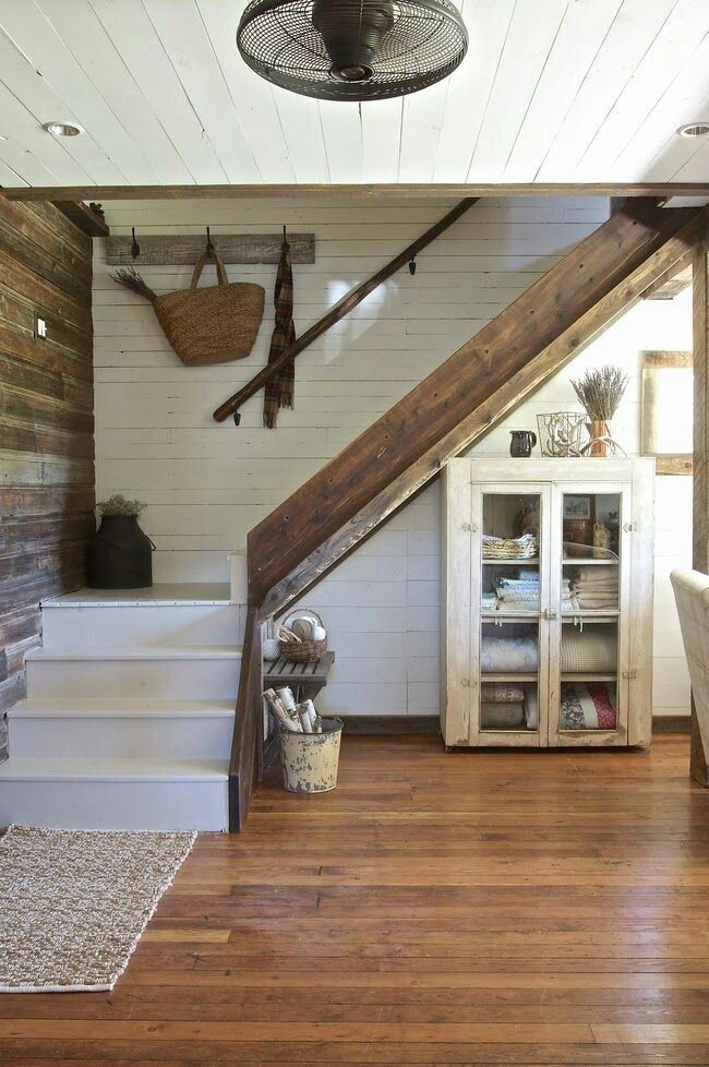 Breezeway Design Pictures Remodel Decor And Ideas Page 35 With Images: Farmhouse Staircase, Staircase Decor, White Shiplap Wall