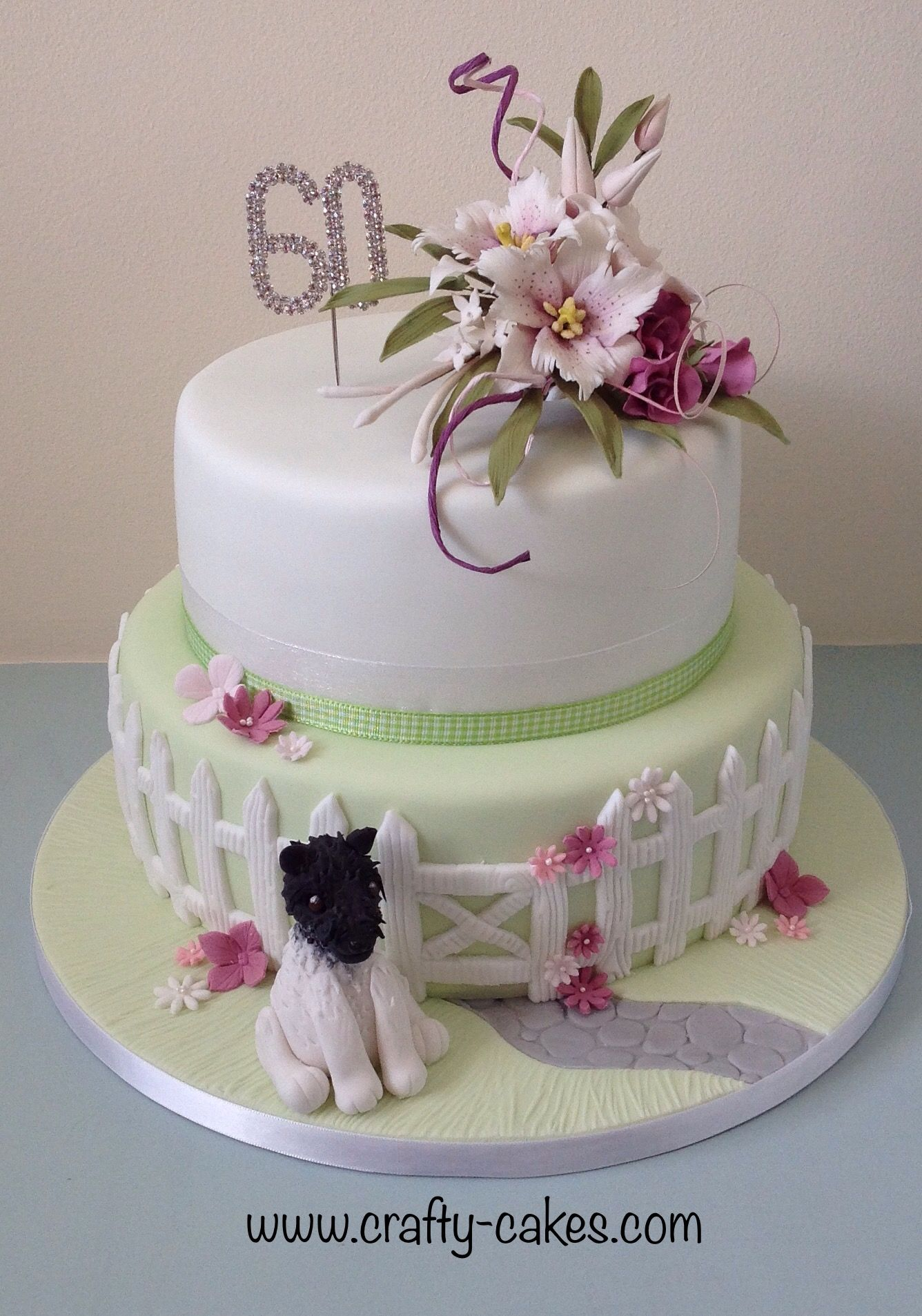 2 Tier 60th Birthday Cake With Sugar Flower Spray And Modelled Dog