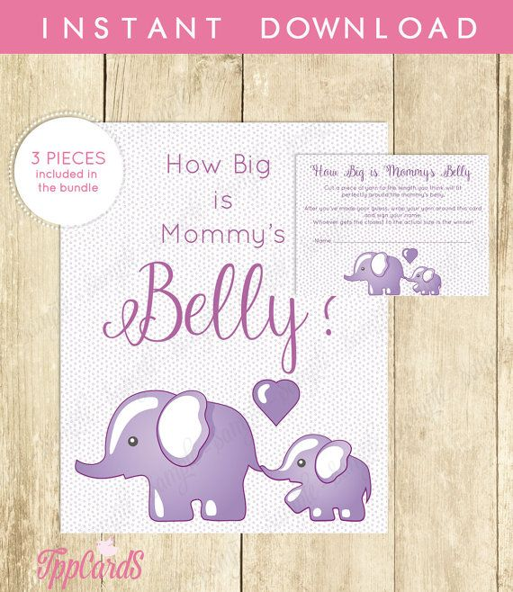 How Big Is Mommy's Belly Baby Shower Game Big Belly Guessing Game Belly Game Big Mommy Guess The Game Purple Elephant Elephant Game by TppCardS #tppcards