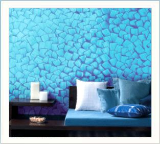 Cool Stencil Painted Blueturquoise Wall Home Design Ideas In 2019