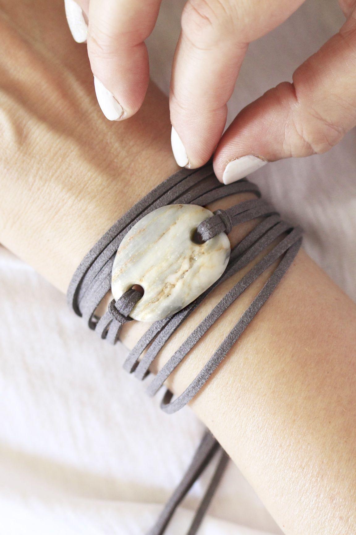 Photo of Gray leather bracelet / gray white stone / beach stone jewelry / gray beach pebble / greek beach stone / gray leather wrap / vegan leather