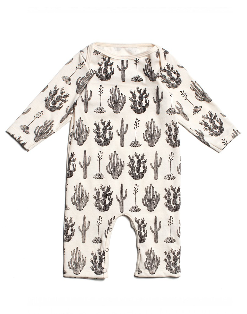 53232821564 Long sleeve romper with a black cactus print. Made of 100% certified  organic cotton. A one piece romper your baby can live in. Great weight