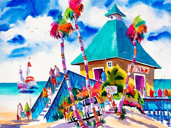 Fort Myers Beach Beach Painting Sailboats by NegleyWatercolors