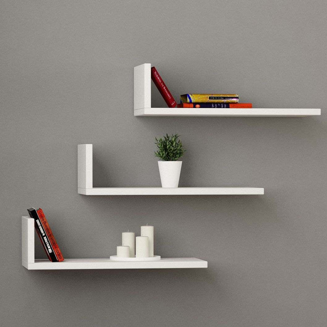 Floating Shelves With Lights White Cabinets And Long Floating
