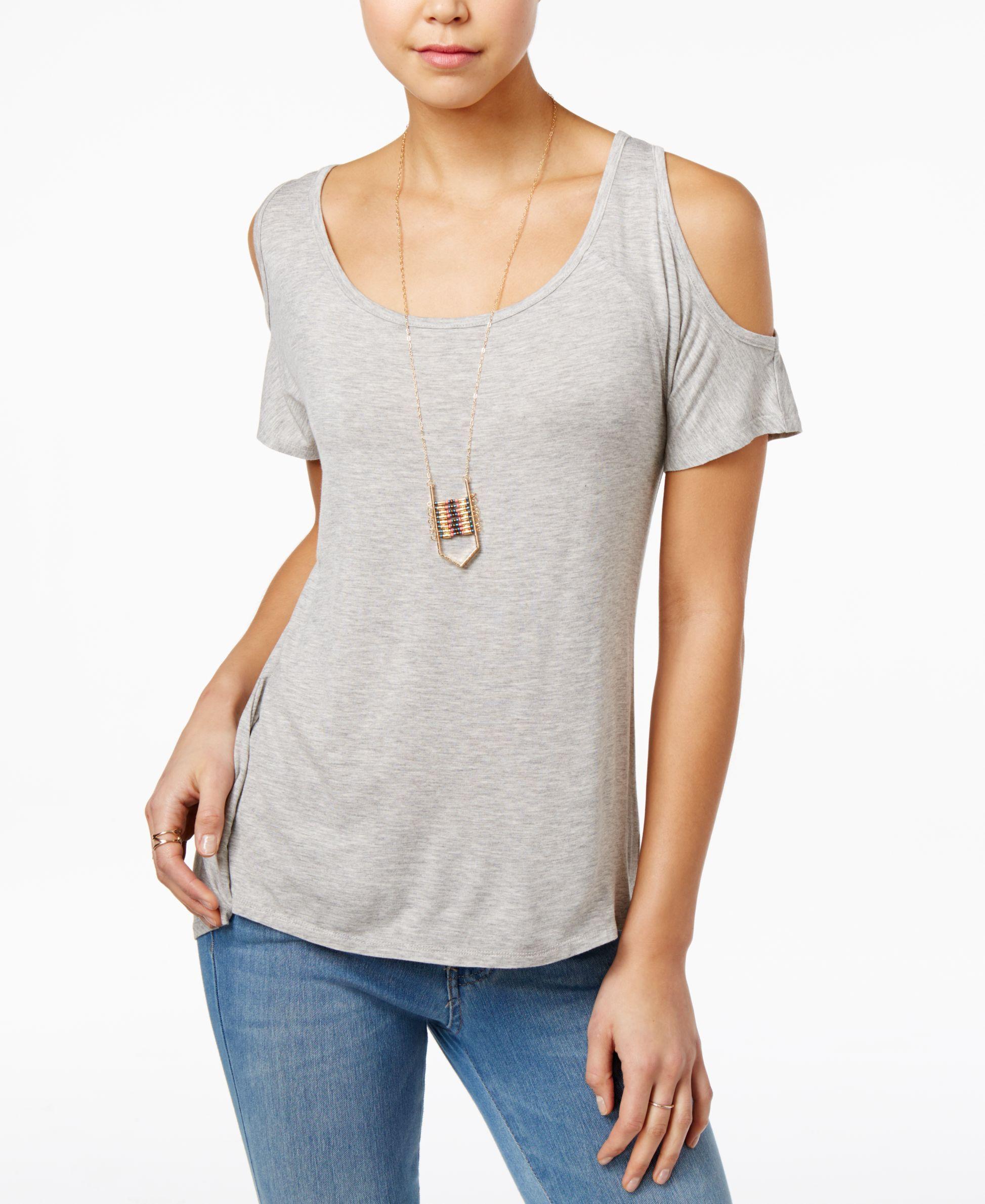 d990c43d9 Belle Du Jour Juniors  Cold-Shoulder Top with Necklace