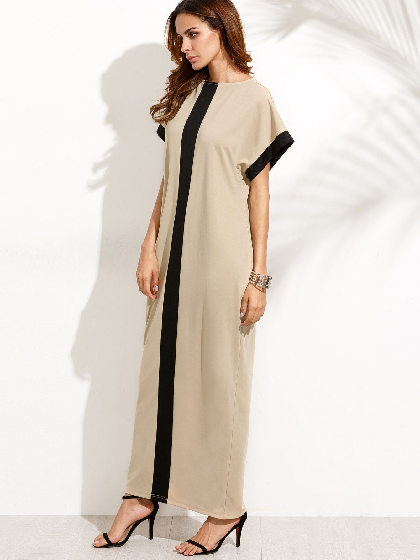 8016b17b585 Fabric  Fabric has some stretch Season  Summer Type  Tunic Pattern Type   Color Block Sleeve Length  Short Sleeve Color  Apricot Dresses Length  Maxi  Style  ...