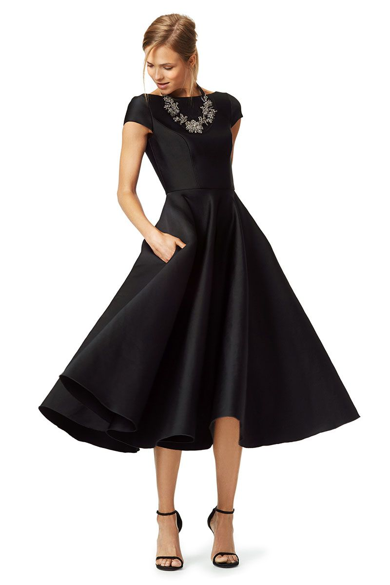 fe50476a41a79 A-Line Draped Black Satin Cap Sleeve Textured Modest Cocktail Dress ...
