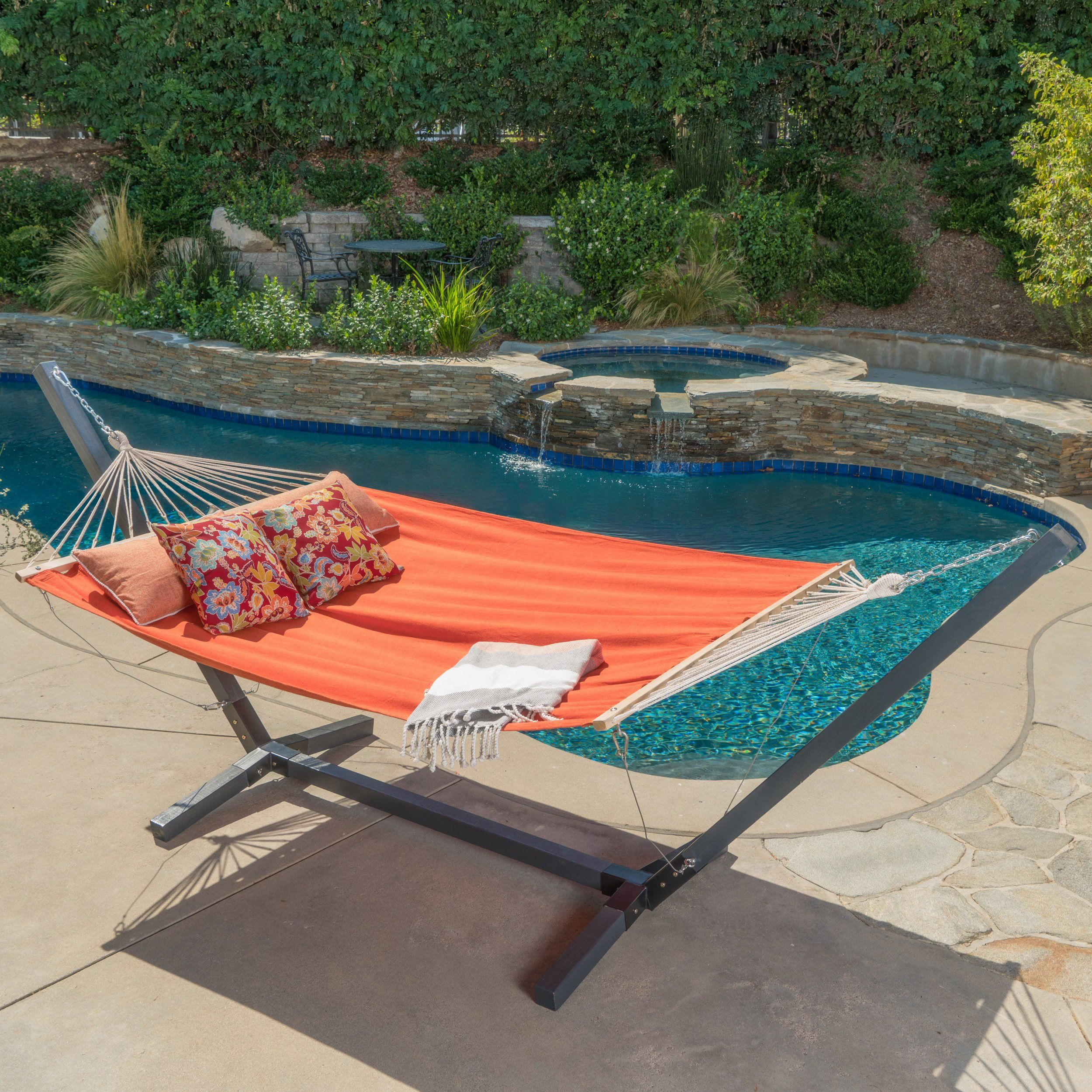 Weston Patio Furniture - Outdoor Water Resistant Hammock With Larch