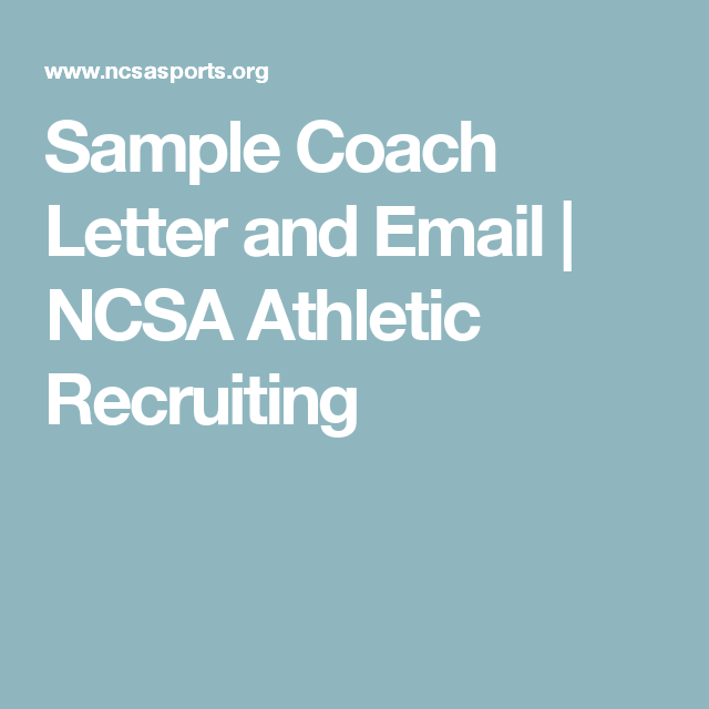 Sample Coach Letter And Email