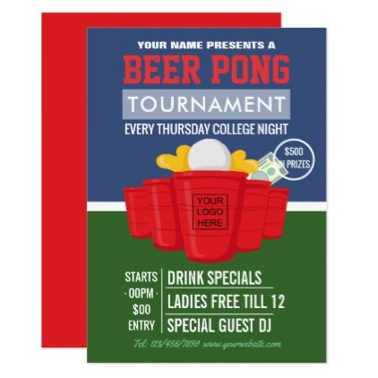 College Beer Pong Tournament add logo Ad Card - invitations custom - copy zumba punch card template free