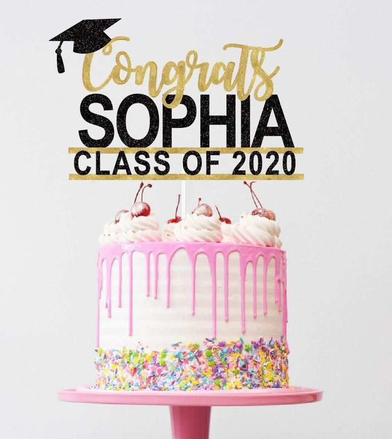 Gaduation Cake Toppers 2019 Decorations Red Class of 2019 Cake Topper Real Glitter Black and Gold Congrats Grad Pack of 5 Large
