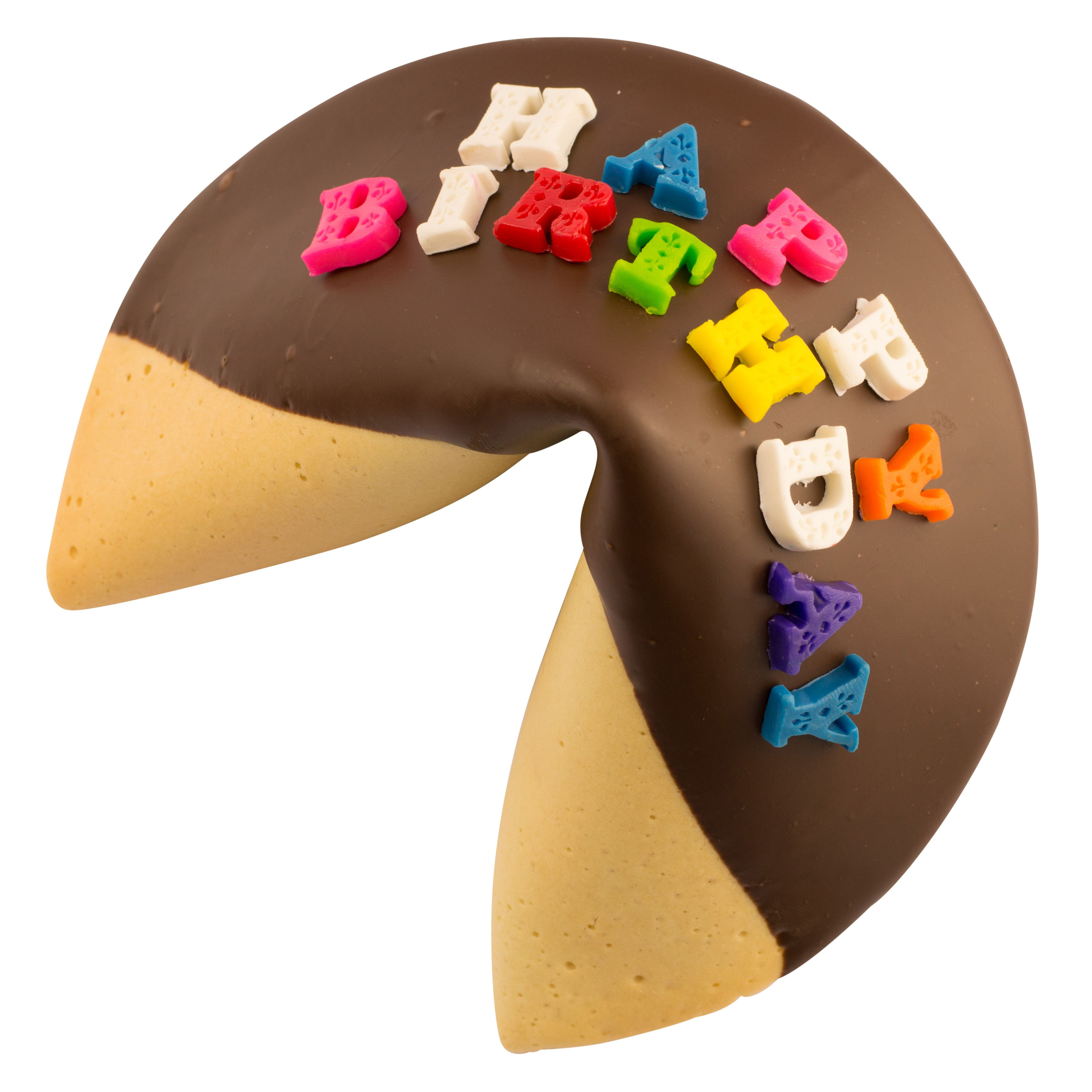 Giant happy birthday fortune cookie with edible lettering