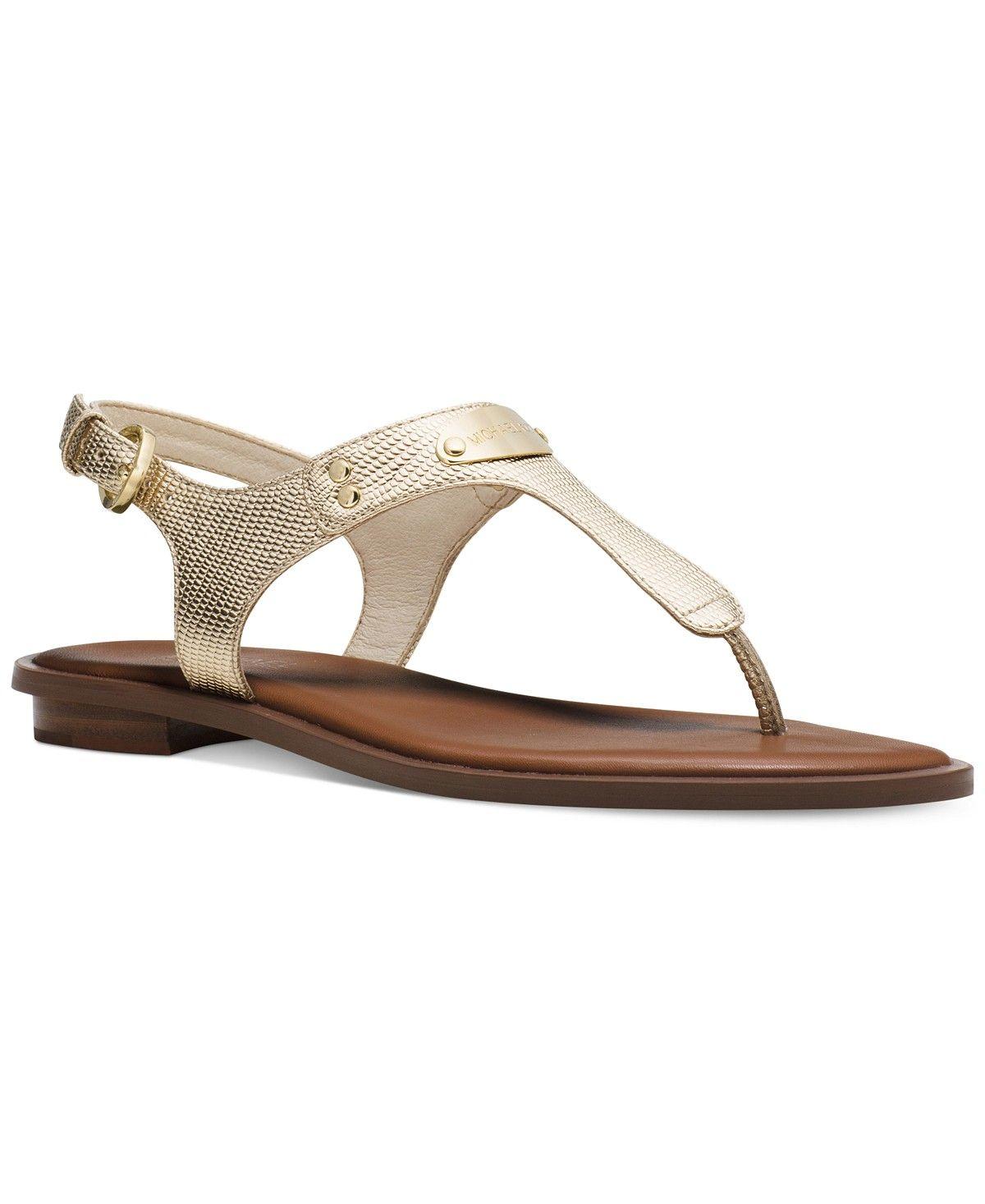 63953bbfe301 MICHAEL Michael Kors MK Plate Flat Thong Sandals - Michael Kors Sandals -  Shoes - Macy s