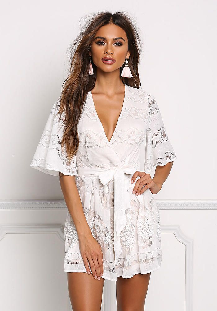 d7838ceb0504 White Deep V Embroidered Flared Romper - Jumpsuits & Rompers - Clothes