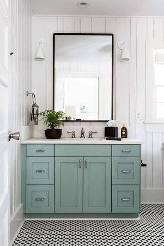 The Best (Small) Bathroom Ideas Ever! Blue vanity, Small bathroom