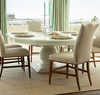 Beautiful Coastal Home Features A 72 Round Pedestal Dining Table