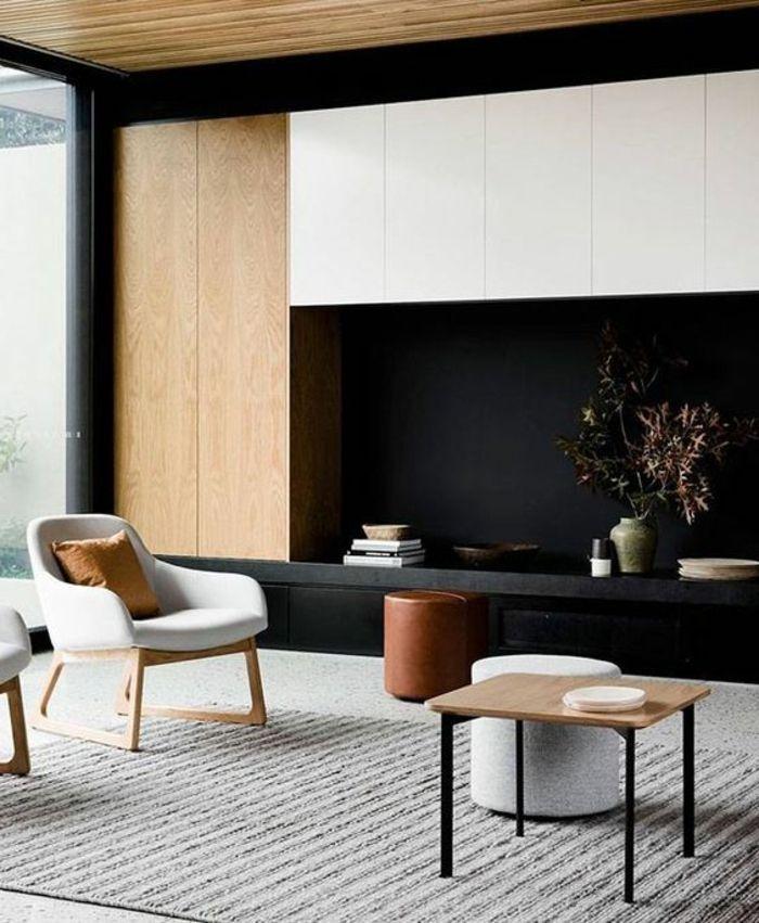casas-minimalistas-tonos-fríos-muebles-de-madera-taburetes-pequeña - casas minimalistas
