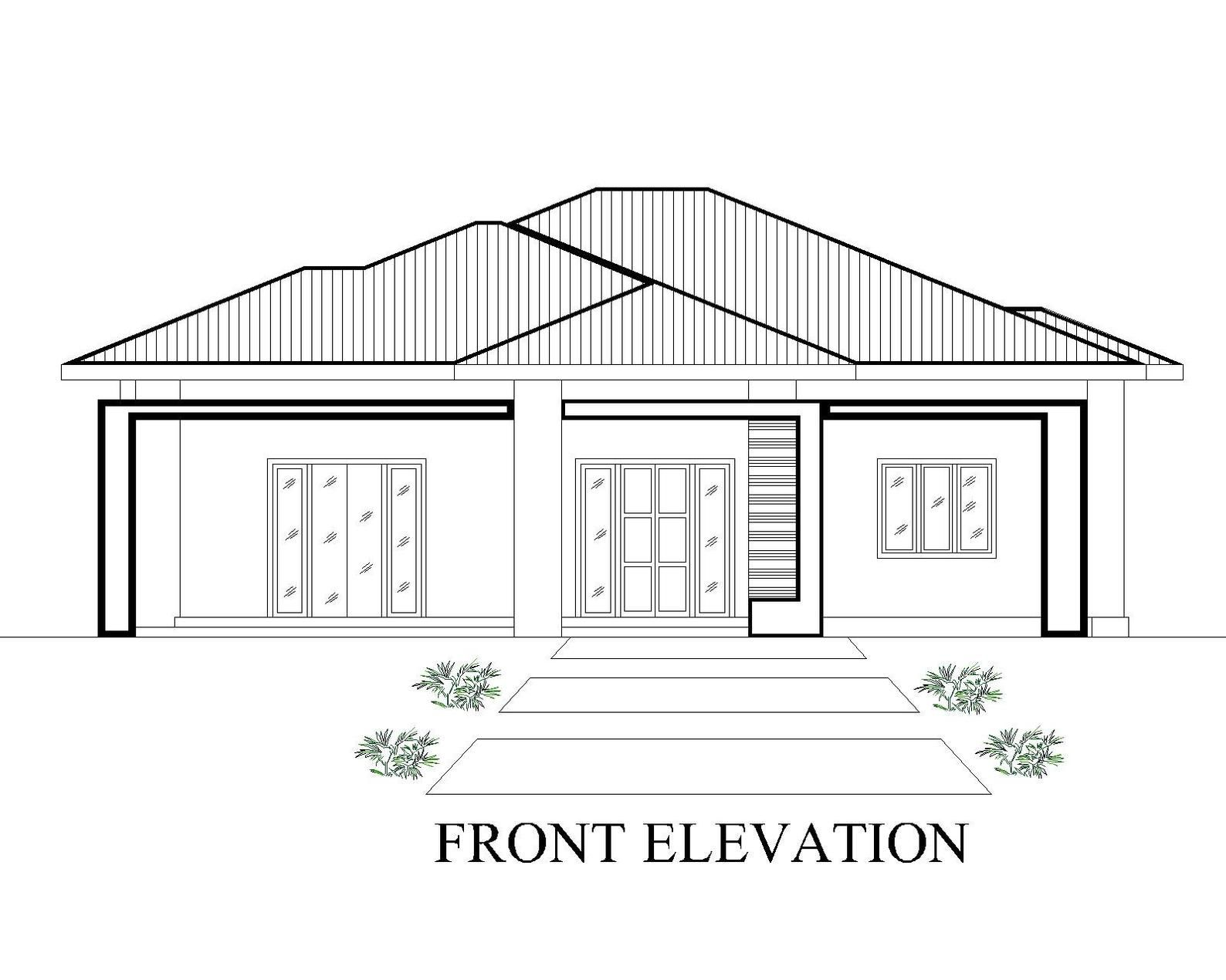 Modern Tiny House Home Floor Cabin Cottege Building plans 3 Bedroom & 2 bath room with Garage and AUTO CAD File