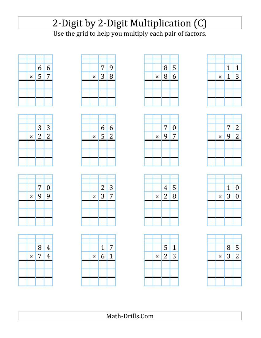 2 Digit By 2 Digit Multiplication With Grid Support C Math Worksheet Freemath Multiplication Worksheets Multiplication Math Multiplication Worksheets Subtraction worksheets on graph paper