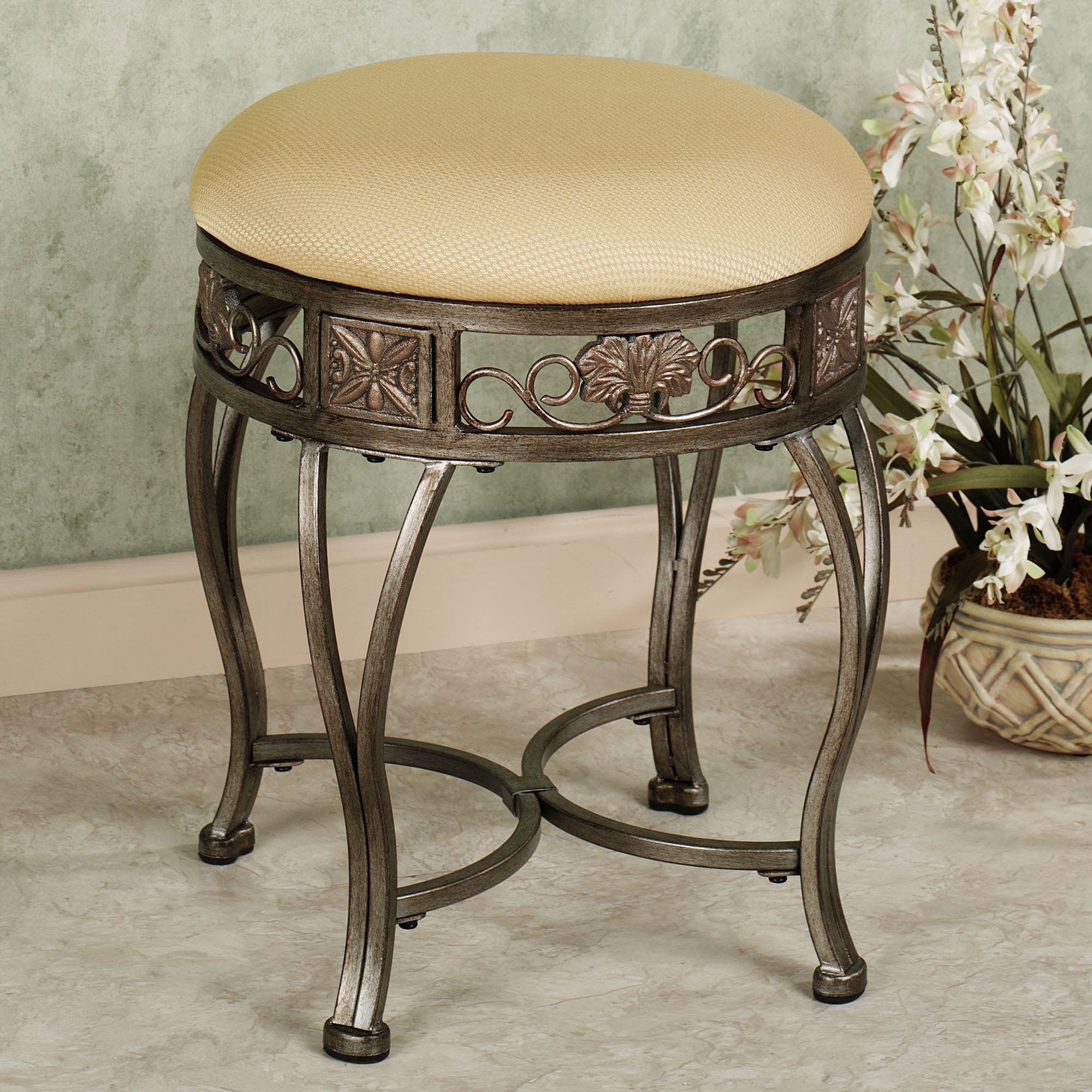 Good Contemporary Vanity Stool For Bathroom With Round Shape And Vintage Curve  Legs