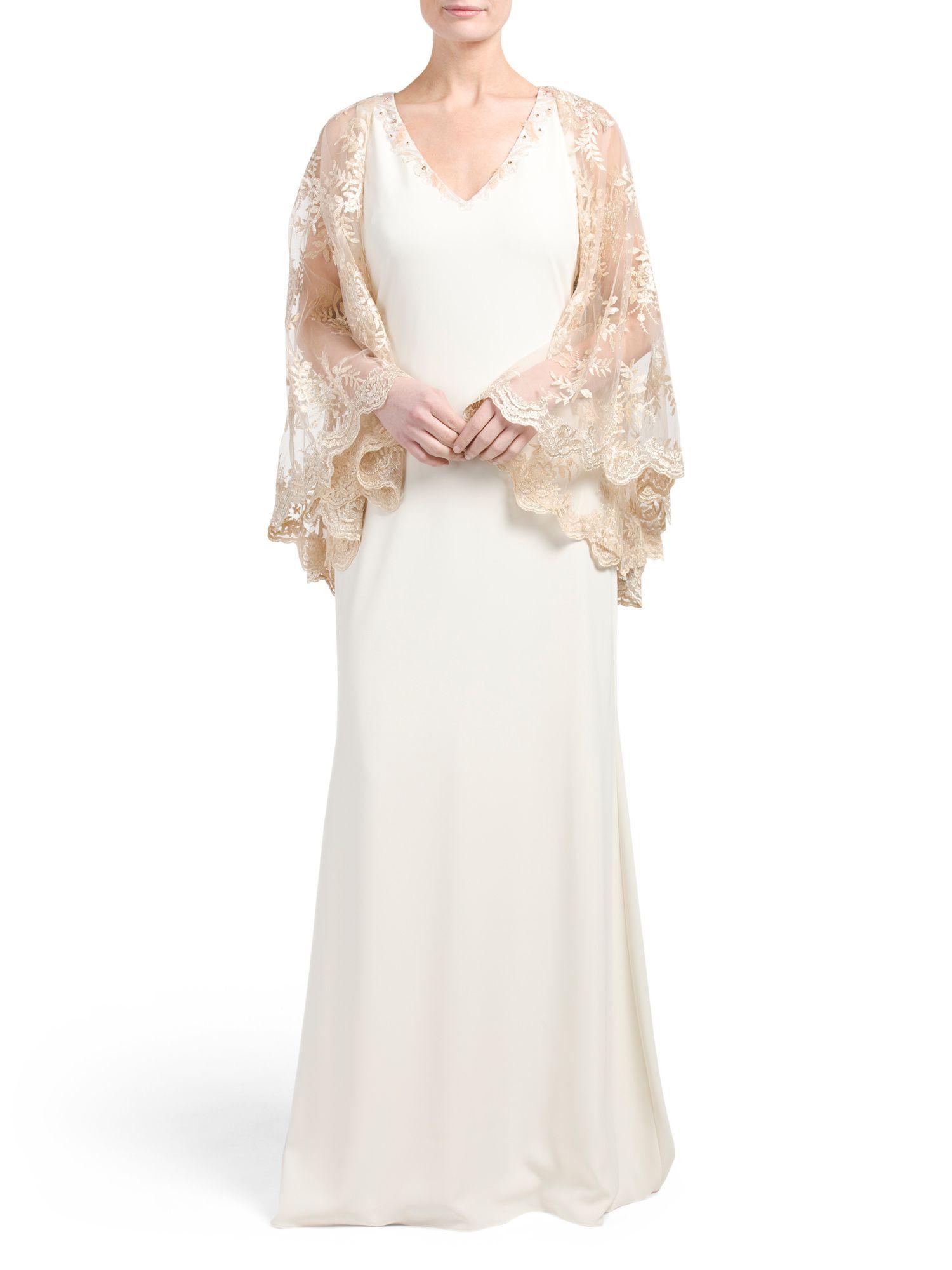 V Neck Illusion Lace Cape Gown