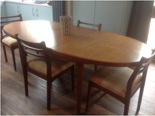 Beautility Teak Retro Vintage Extending Oval Dining Table And 7 Chairs Holywood Gumtree Dining Table Retro Home Decor