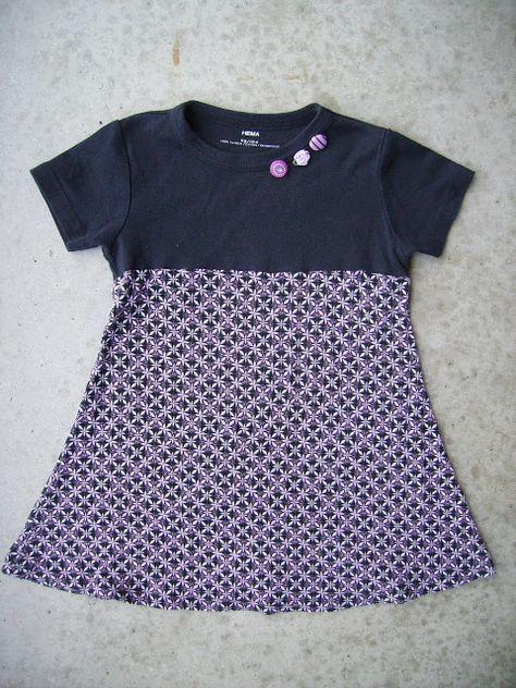 a82168dc4ee739 Meisjesjurk gemaakt van weer een Hema jongens T-shirt en stof van Ikea  Dit