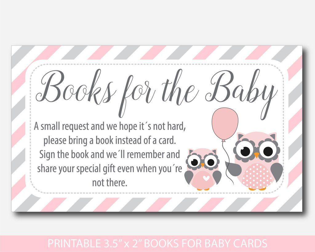 Good Woodland Owl Bring A Book Instead Of A Card Inserts, Owl Baby Shower Books  For